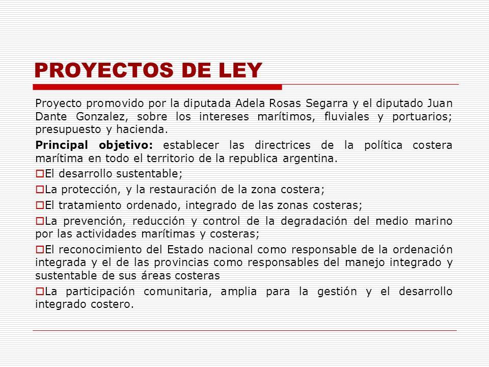 PROYECTOS DE LEY Proyecto promovido por la diputada Adela Rosas Segarra y el diputado Juan Dante Gonzalez, sobre los intereses marítimos, fluviales y