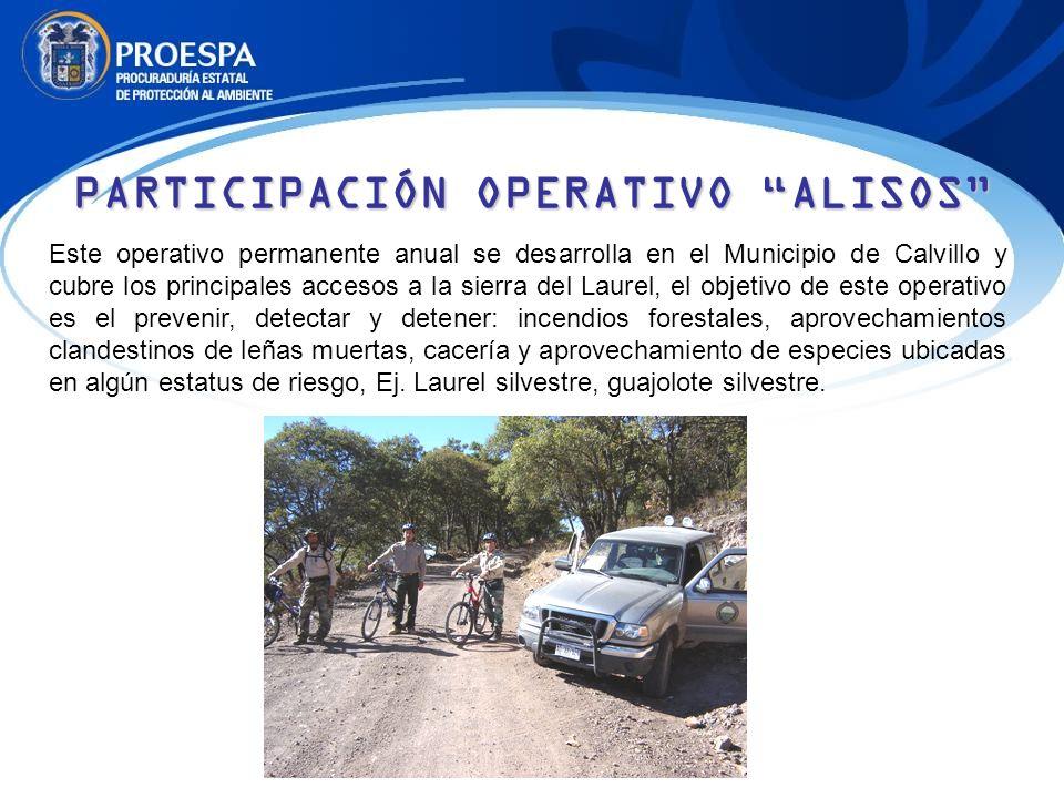 Este operativo permanente anual se desarrolla en el Municipio de Calvillo y cubre los principales accesos a la sierra del Laurel, el objetivo de este