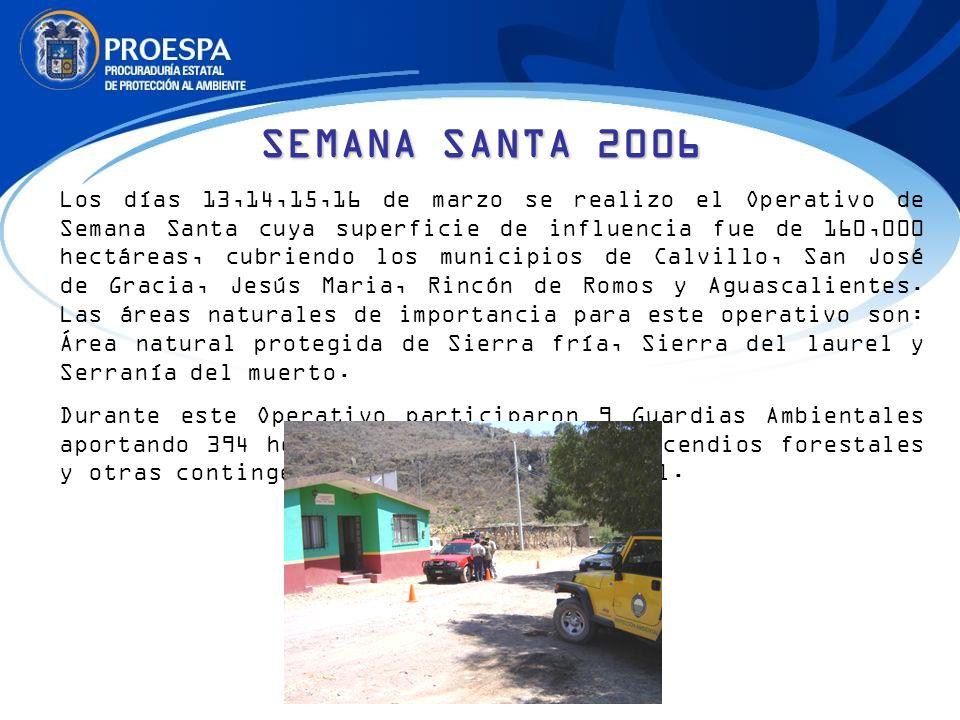 Los días 13,14,15,16 de marzo se realizo el Operativo de Semana Santa cuya superficie de influencia fue de 160,000 hectáreas, cubriendo los municipios