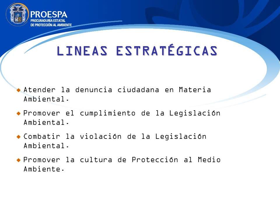 LINEAS ESTRATÉGICAS Atender la denuncia ciudadana en Materia Ambiental. Promover el cumplimiento de la Legislación Ambiental. Combatir la violación de