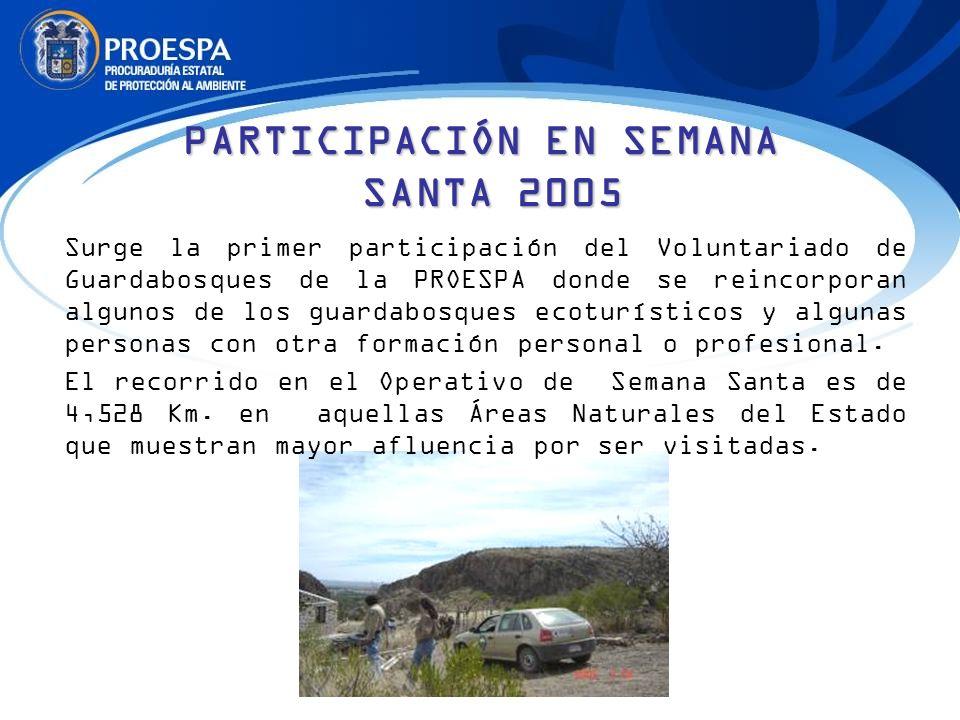 PARTICIPACIÓN EN SEMANA SANTA 2005 Surge la primer participación del Voluntariado de Guardabosques de la PROESPA donde se reincorporan algunos de los