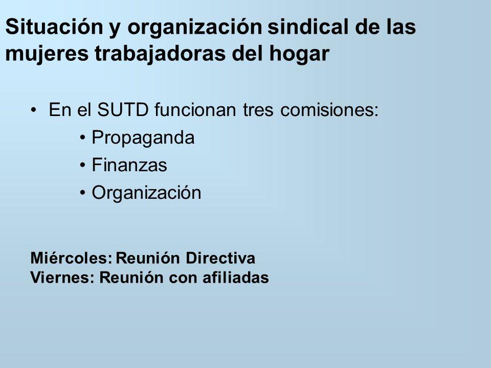 Situación y organización sindical de las mujeres trabajadoras del hogar En el SUTD funcionan tres comisiones: Propaganda Finanzas Organización Miércoles: Reunión Directiva Viernes: Reunión con afiliadas