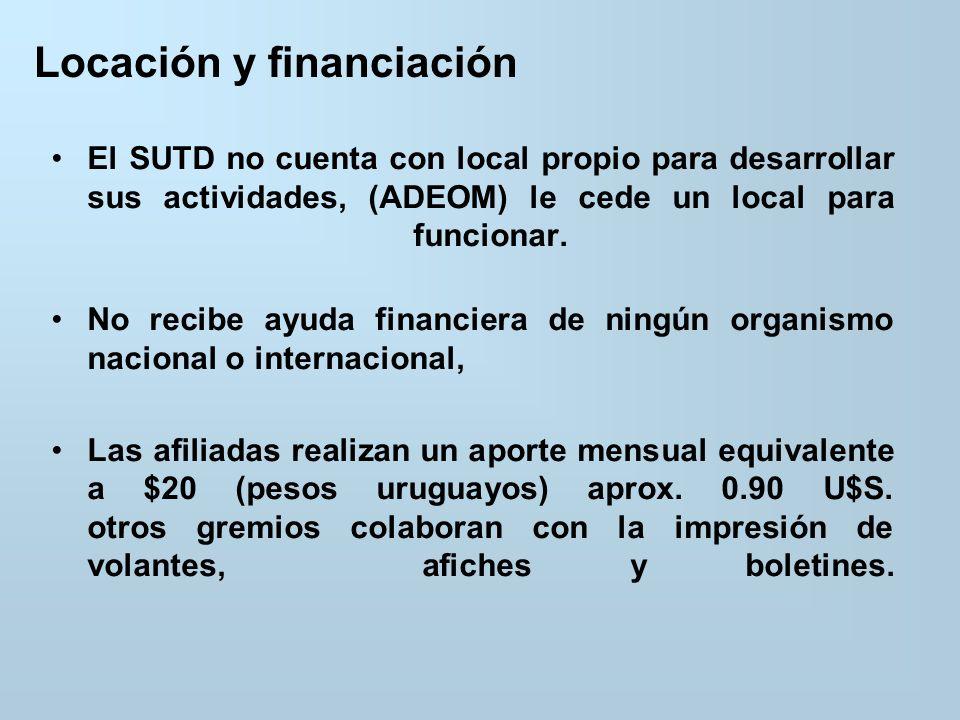 Locación y financiación El SUTD no cuenta con local propio para desarrollar sus actividades, (ADEOM) le cede un local para funcionar.