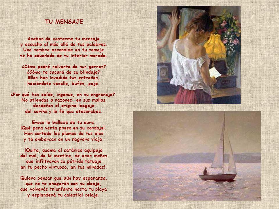 NUBE NEGRA Tenía su hoguera de amor encendido sobre el mar. Volaba en espacio dichoso, infinito, de virtud. Armónico ritmo llenaba el silencio estelar