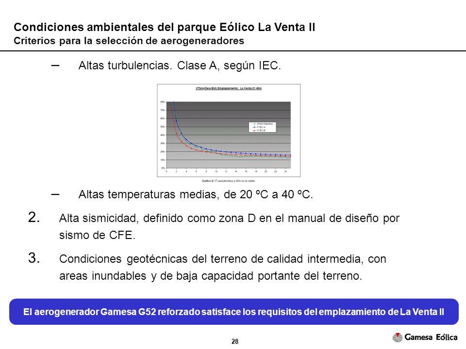 28 Condiciones ambientales del parque Eólico La Venta II Criterios para la selección de aerogeneradores – Altas turbulencias.