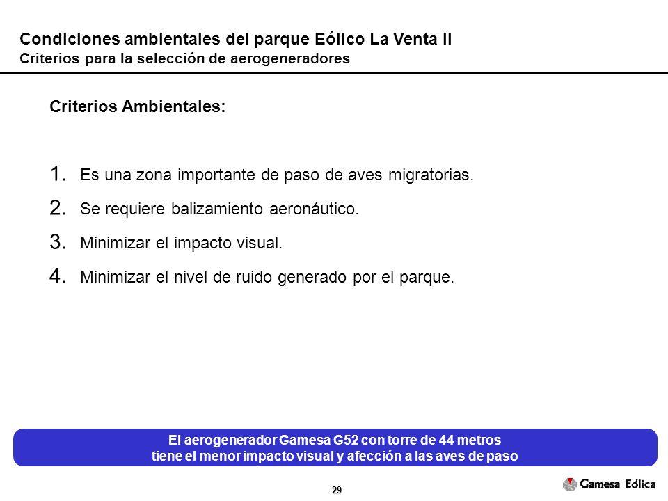 29 Condiciones ambientales del parque Eólico La Venta II Criterios para la selección de aerogeneradores Criterios Ambientales: 1.