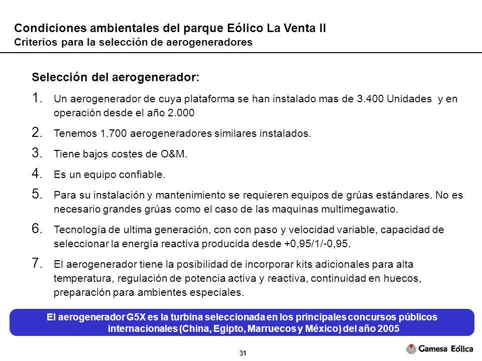 31 Condiciones ambientales del parque Eólico La Venta II Criterios para la selección de aerogeneradores Selección del aerogenerador: 1.
