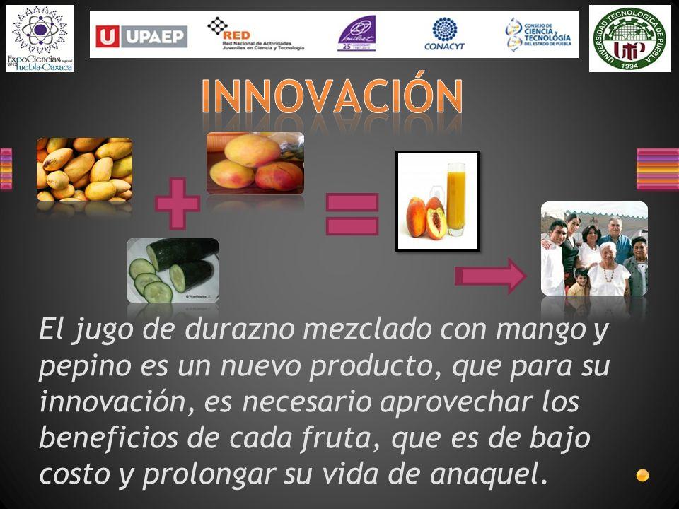 El jugo de durazno mezclado con mango y pepino es un nuevo producto, que para su innovación, es necesario aprovechar los beneficios de cada fruta, que