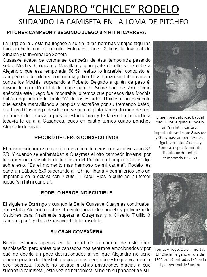 ALEJANDRO CHICLE RODELO SUDANDO LA CAMISETA EN LA LOMA DE PITCHEO PITCHER CAMPEON Y SEGUNDO JUEGO SIN HIT NI CARRERA La Liga de la Costa ha llegado a