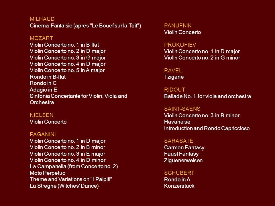 DALLAPICCOLA Tartiniana DOHNANYI Violin Concerto no. 2 DVORAK Violin Concerto ELGAR Violin Concerto GLAZUNOV Violin Concerto HAYDN Concerto in C major