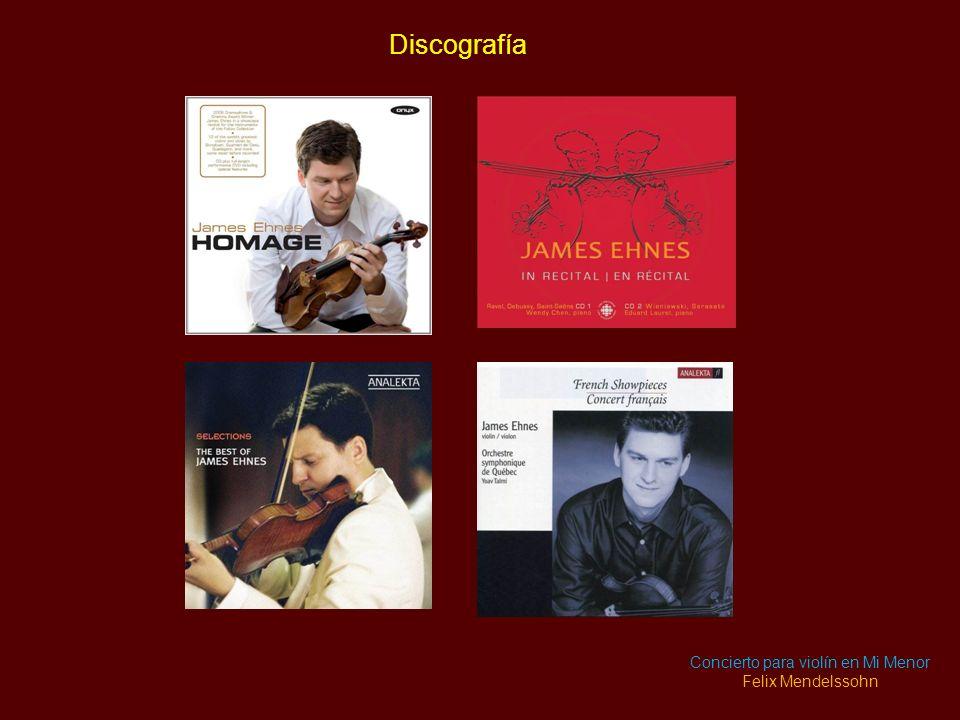 Discografía James Ehnes tiene una extensa discografía de más de 30 grabaciones, con música que va desde J. S. Bach hasta John Adams. Proyectos recient