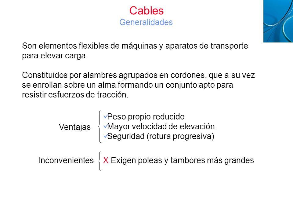 Cables Metálicos Son elementos flexibles de máquinas y aparatos de transporte para elevar carga. Constituidos por alambres agrupados en cordones, que