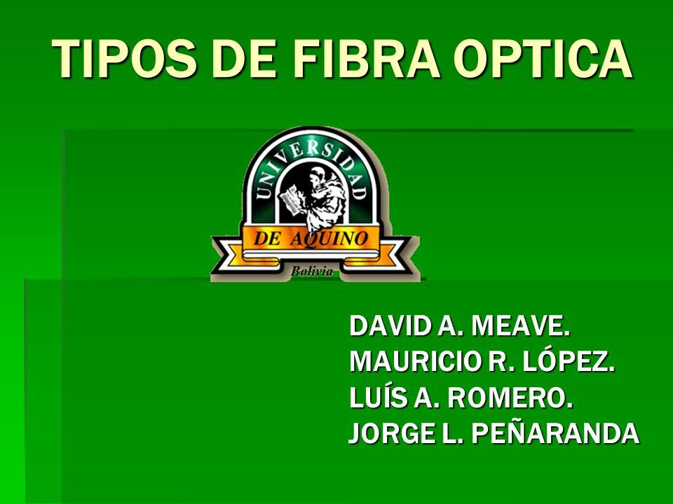 TIPOS DE FIBRA OPTICA DAVID A. MEAVE. MAURICIO R. LÓPEZ. LUÍS A. ROMERO. JORGE L. PEÑARANDA
