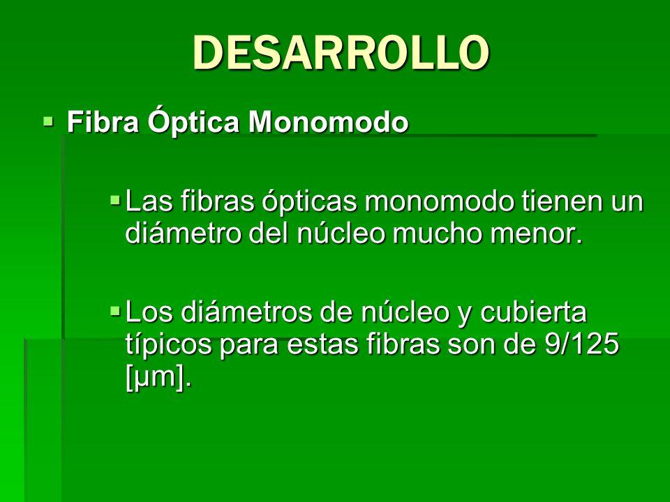 Fibra Óptica Monomodo Fibra Óptica Monomodo Las fibras ópticas monomodo tienen un diámetro del núcleo mucho menor. Las fibras ópticas monomodo tienen