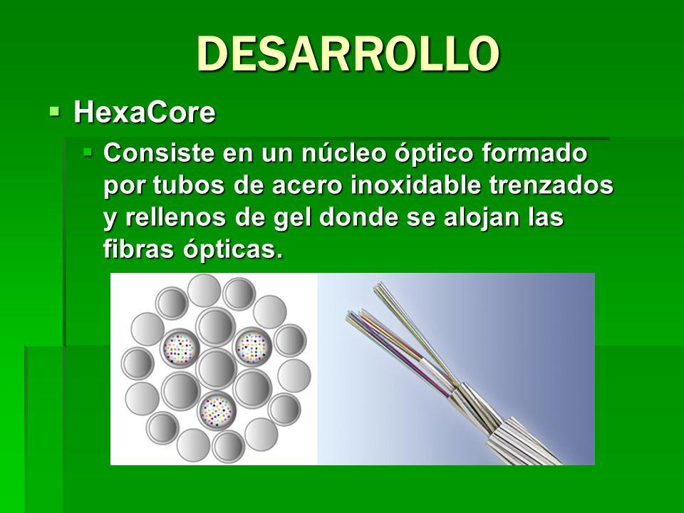 HexaCore HexaCore Consiste en un núcleo óptico formado por tubos de acero inoxidable trenzados y rellenos de gel donde se alojan las fibras ópticas. C