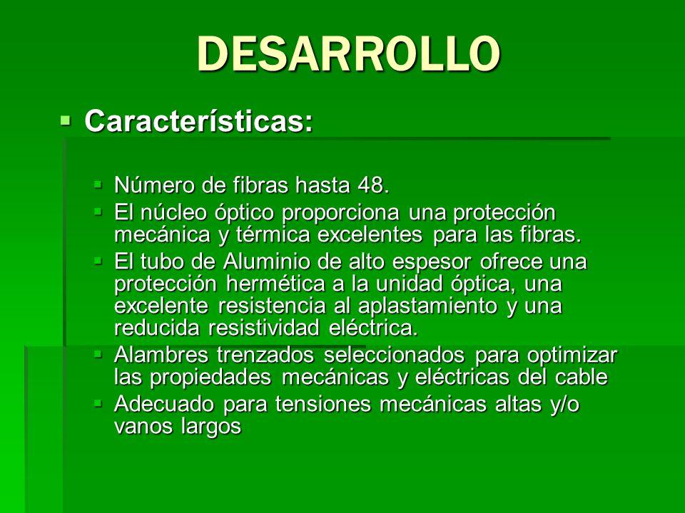 Características: Características: Número de fibras hasta 48. Número de fibras hasta 48. El núcleo óptico proporciona una protección mecánica y térmica