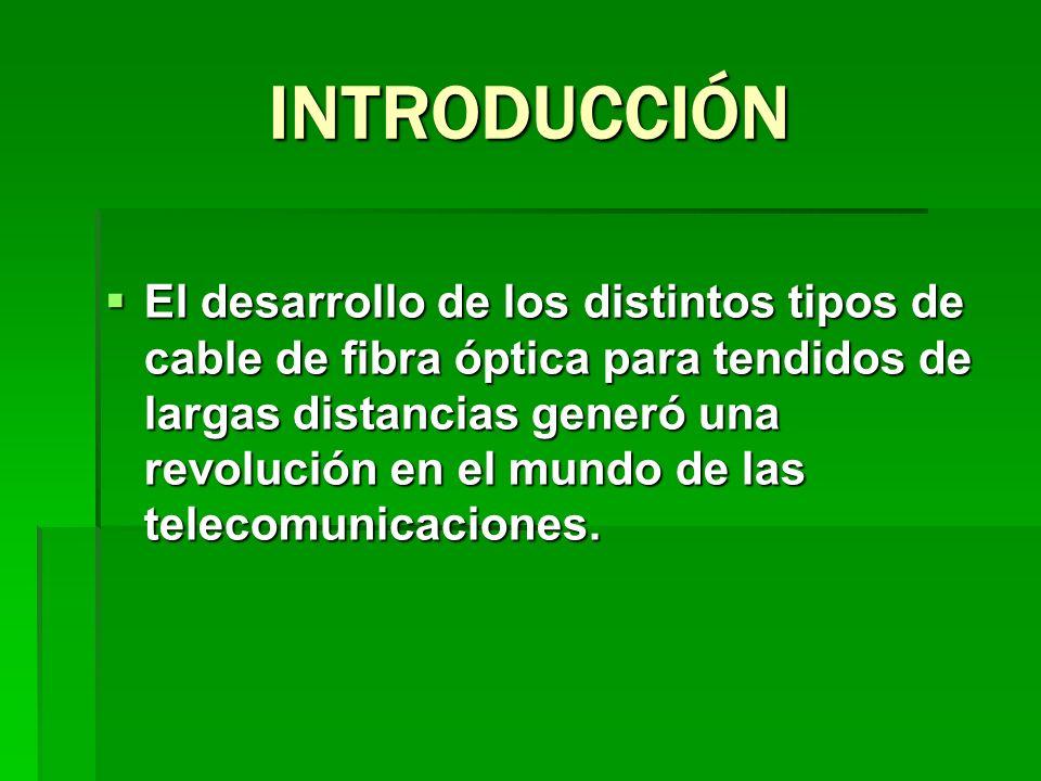 INTRODUCCIÓN El desarrollo de los distintos tipos de cable de fibra óptica para tendidos de largas distancias generó una revolución en el mundo de las