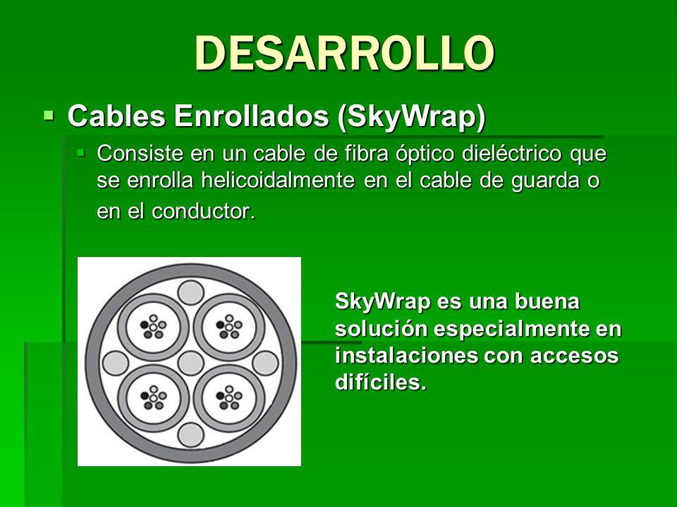 Cables Enrollados (SkyWrap) Cables Enrollados (SkyWrap) Consiste en un cable de fibra óptico dieléctrico que se enrolla helicoidalmente en el cable de