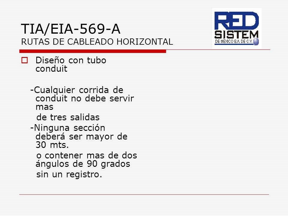 TIA/EIA-569-A RUTAS DE CABLEADO HORIZONTAL Diseño con tubo conduit -Cualquier corrida de conduit no debe servir mas de tres salidas -Ninguna sección d