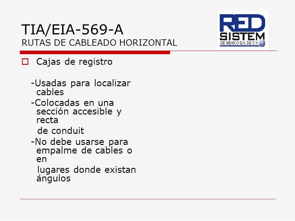 TIA/EIA-569-A RUTAS DE CABLEADO HORIZONTAL Cajas de registro -Usadas para localizar cables -Colocadas en una sección accesible y recta de conduit -No