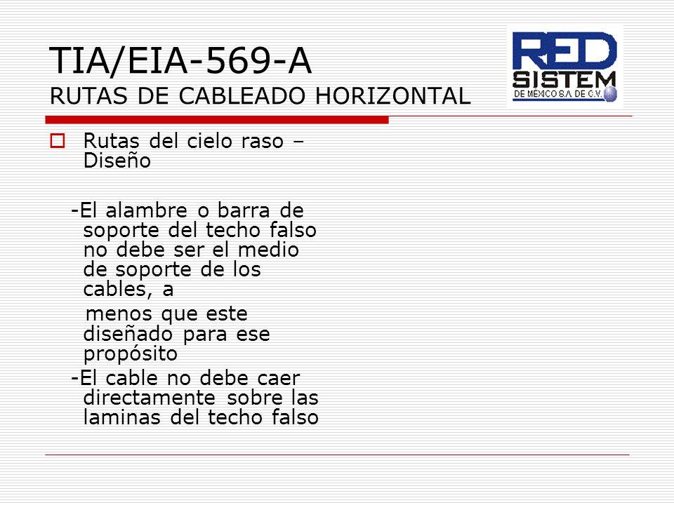TIA/EIA-569-A RUTAS DE CABLEADO HORIZONTAL Rutas del cielo raso – Diseño -El alambre o barra de soporte del techo falso no debe ser el medio de soport