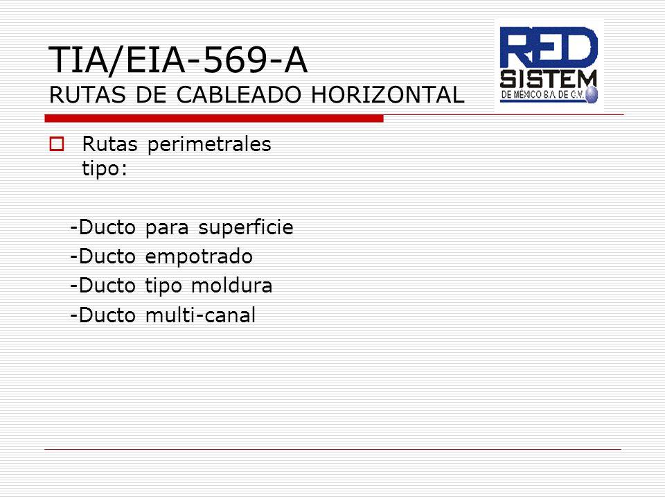 TIA/EIA-569-A RUTAS DE CABLEADO HORIZONTAL Rutas perimetrales tipo: -Ducto para superficie -Ducto empotrado -Ducto tipo moldura -Ducto multi-canal