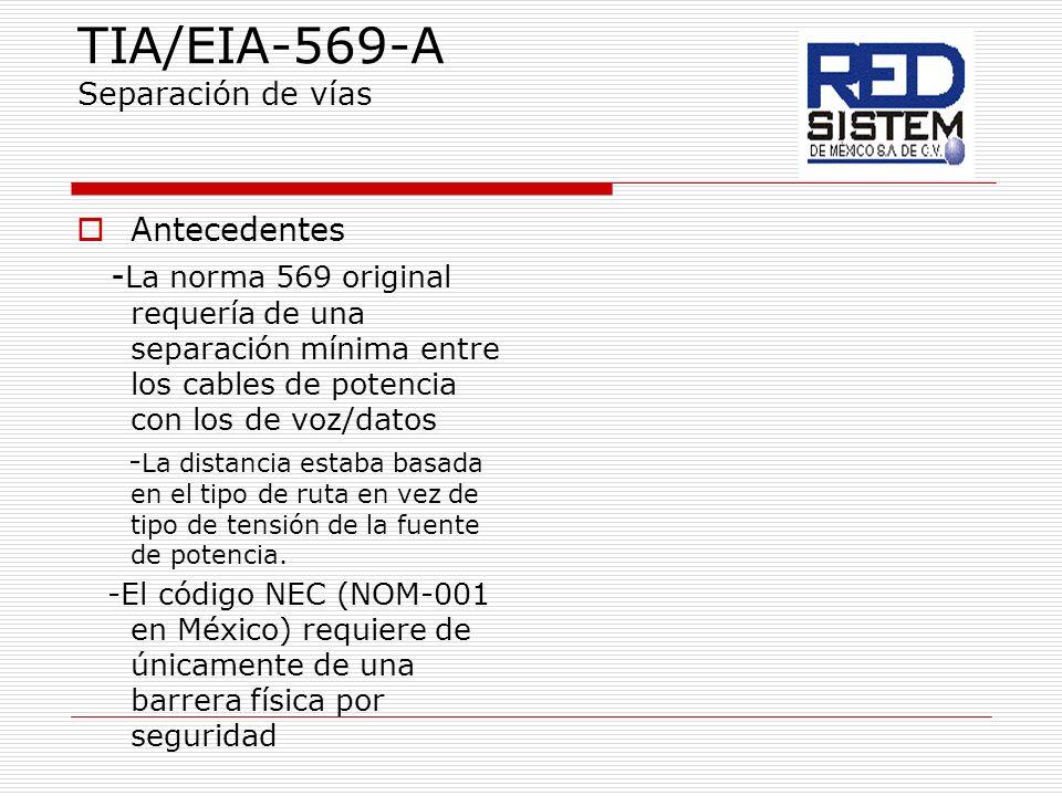 TIA/EIA-569-A Separación de vías Antecedentes - La norma 569 original requería de una separación mínima entre los cables de potencia con los de voz/da