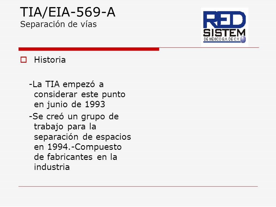 TIA/EIA-569-A Separación de vías Historia -La TIA empezó a considerar este punto en junio de 1993 -Se creó un grupo de trabajo para la separación de e