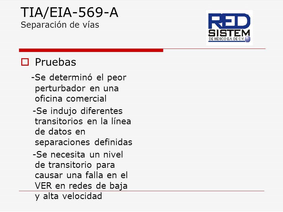 TIA/EIA-569-A Separación de vías Pruebas -Se determinó el peor perturbador en una oficina comercial -Se indujo diferentes transitorios en la línea de