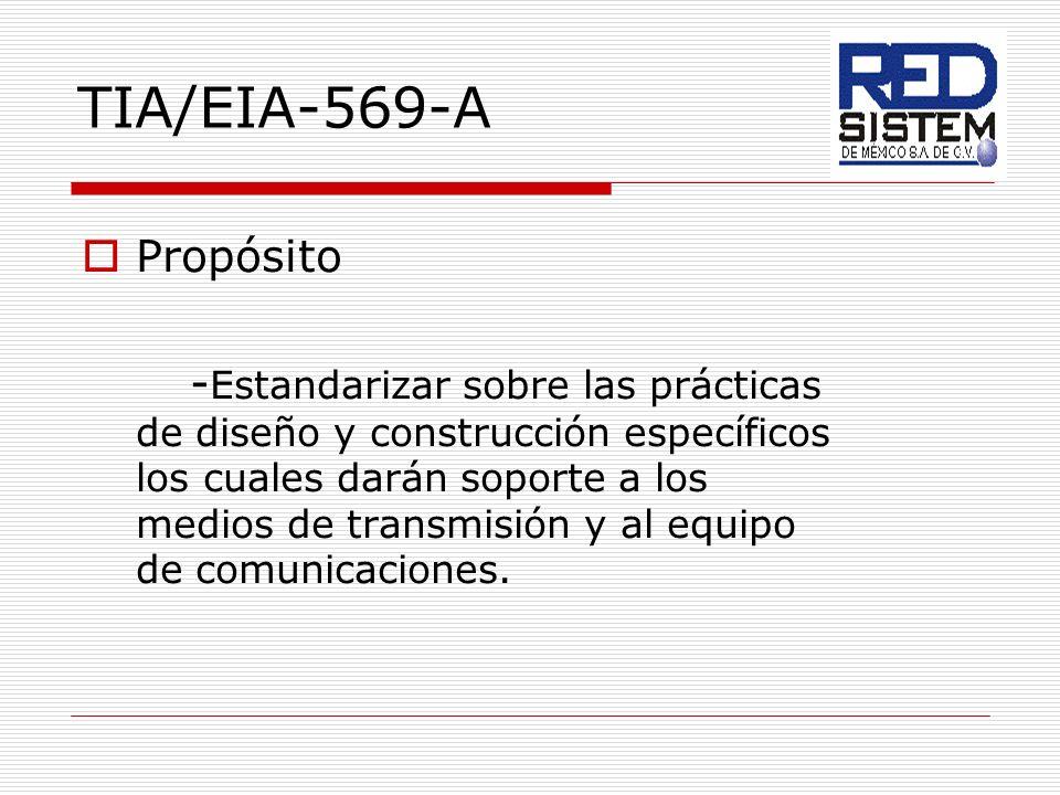 TIA/EIA-569-A Propósito - Estandarizar sobre las prácticas de diseño y construcción específicos los cuales darán soporte a los medios de transmisión y