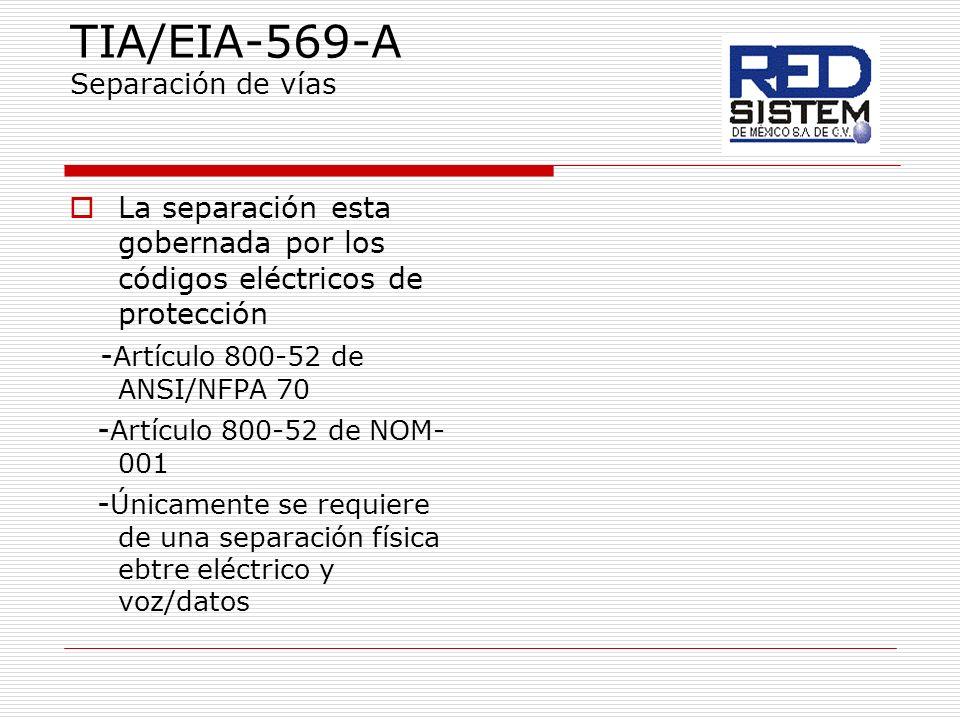 TIA/EIA-569-A Separación de vías La separación esta gobernada por los códigos eléctricos de protección - Artículo 800-52 de ANSI/NFPA 70 - Artículo 80