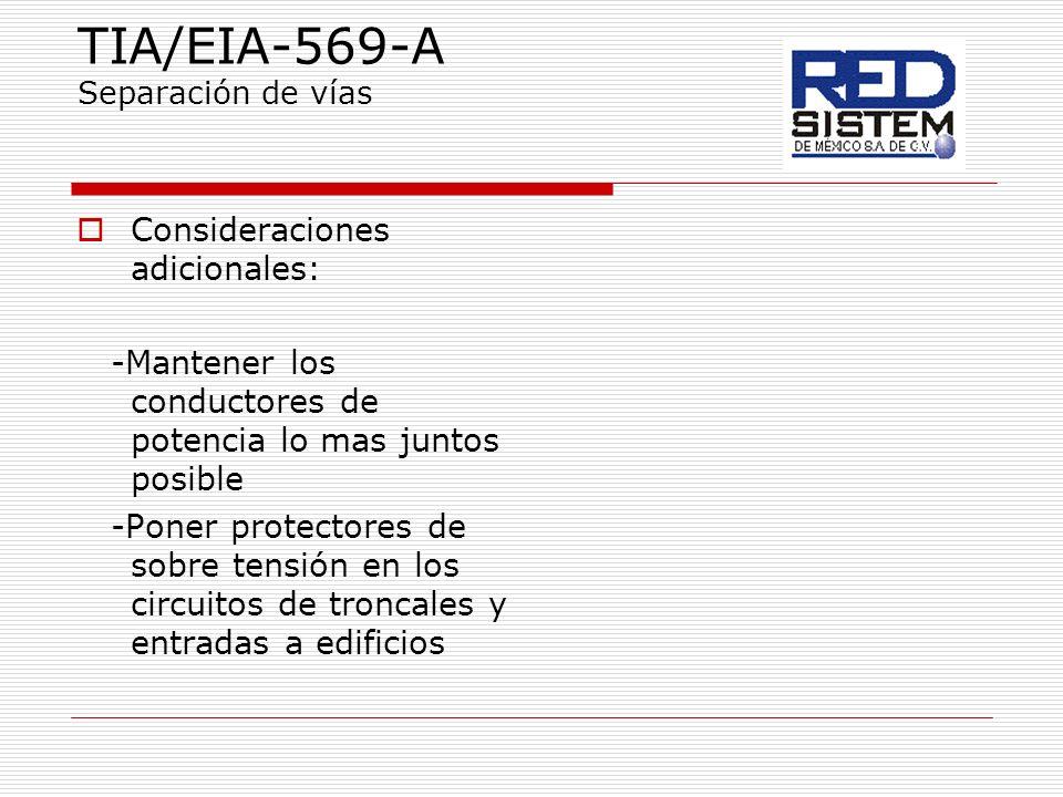TIA/EIA-569-A Separación de vías Consideraciones adicionales: -Mantener los conductores de potencia lo mas juntos posible -Poner protectores de sobre