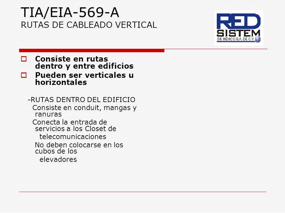 TIA/EIA-569-A RUTAS DE CABLEADO VERTICAL Consiste en rutas dentro y entre edificios Pueden ser verticales u horizontales -RUTAS DENTRO DEL EDIFICIO Co
