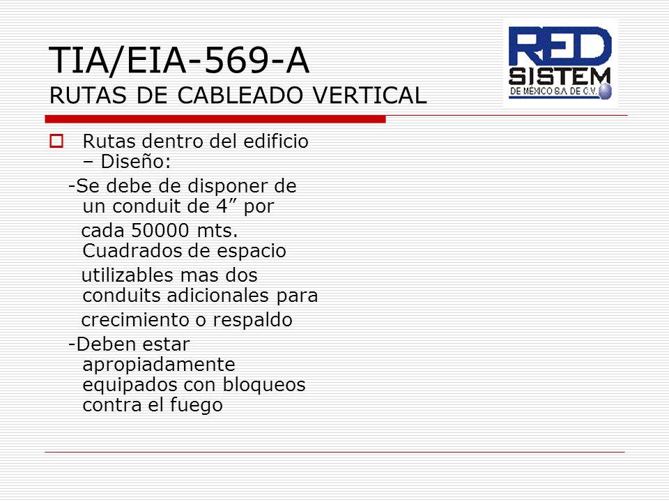 TIA/EIA-569-A RUTAS DE CABLEADO VERTICAL Rutas dentro del edificio – Diseño: -Se debe de disponer de un conduit de 4 por cada 50000 mts. Cuadrados de