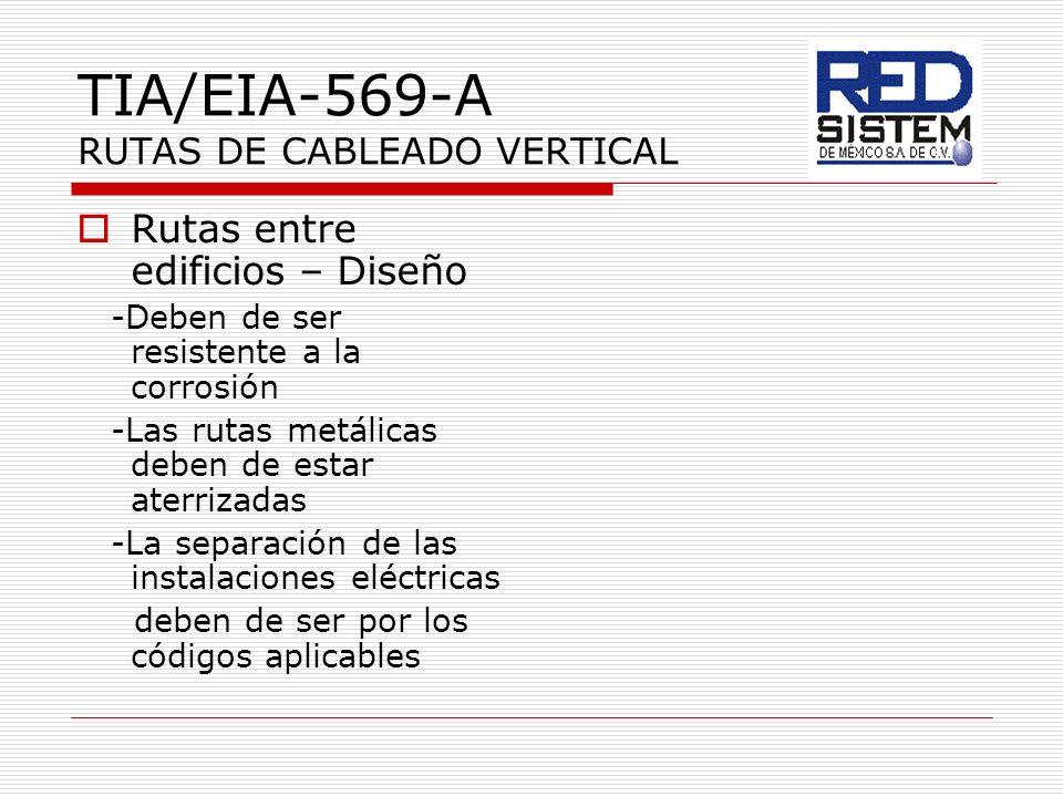 TIA/EIA-569-A RUTAS DE CABLEADO VERTICAL Rutas entre edificios – Diseño -Deben de ser resistente a la corrosión -Las rutas metálicas deben de estar at