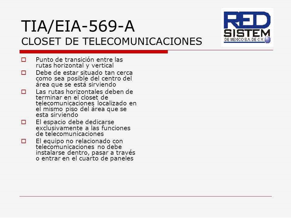 TIA/EIA-569-A CLOSET DE TELECOMUNICACIONES Punto de transición entre las rutas horizontal y vertical Debe de estar situado tan cerca como sea posible