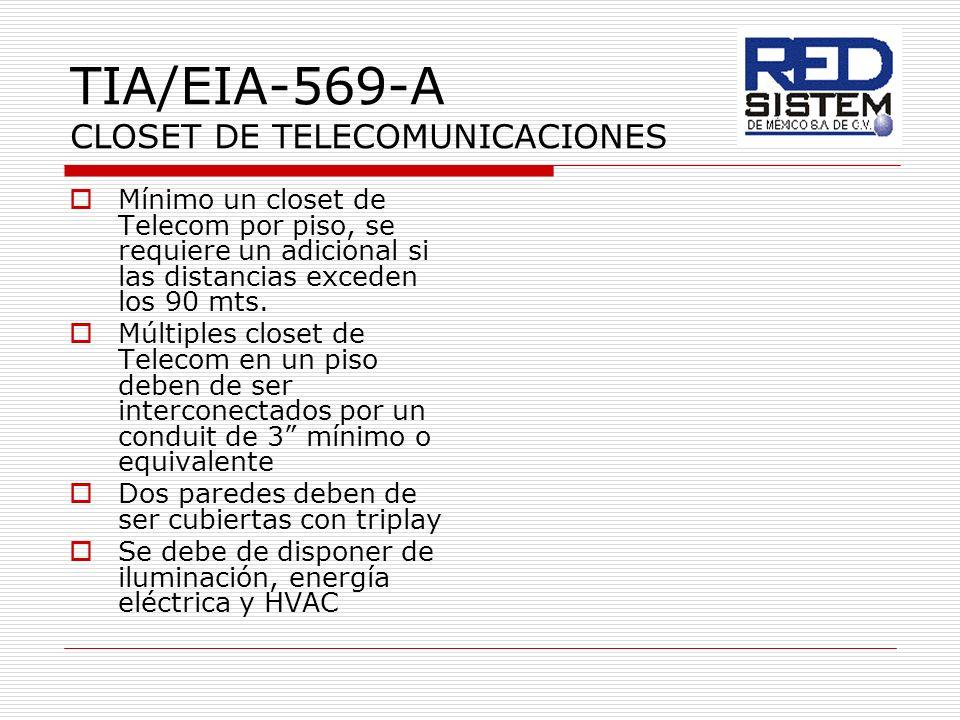 TIA/EIA-569-A CLOSET DE TELECOMUNICACIONES Mínimo un closet de Telecom por piso, se requiere un adicional si las distancias exceden los 90 mts. Múltip
