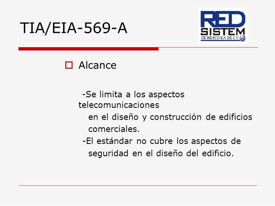 TIA/EIA-569-A Alcance -Se limita a los aspectos telecomunicaciones en el diseño y construcción de edificios comerciales. -El estándar no cubre los asp