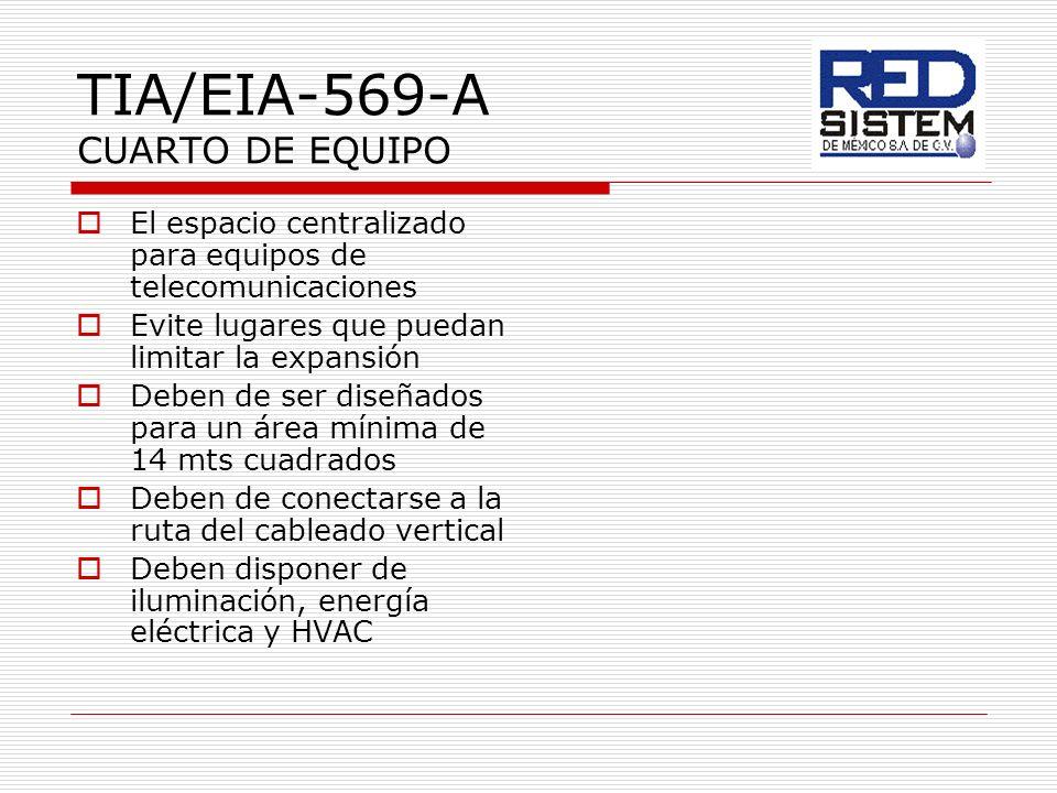 TIA/EIA-569-A CUARTO DE EQUIPO El espacio centralizado para equipos de telecomunicaciones Evite lugares que puedan limitar la expansión Deben de ser d