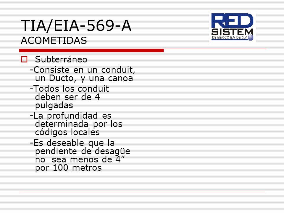 TIA/EIA-569-A ACOMETIDAS Subterráneo -Consiste en un conduit, un Ducto, y una canoa -Todos los conduit deben ser de 4 pulgadas -La profundidad es dete