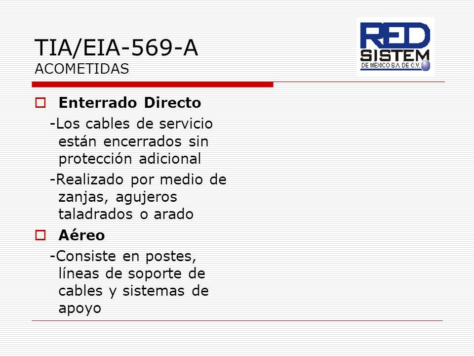 TIA/EIA-569-A ACOMETIDAS Enterrado Directo -Los cables de servicio están encerrados sin protección adicional -Realizado por medio de zanjas, agujeros