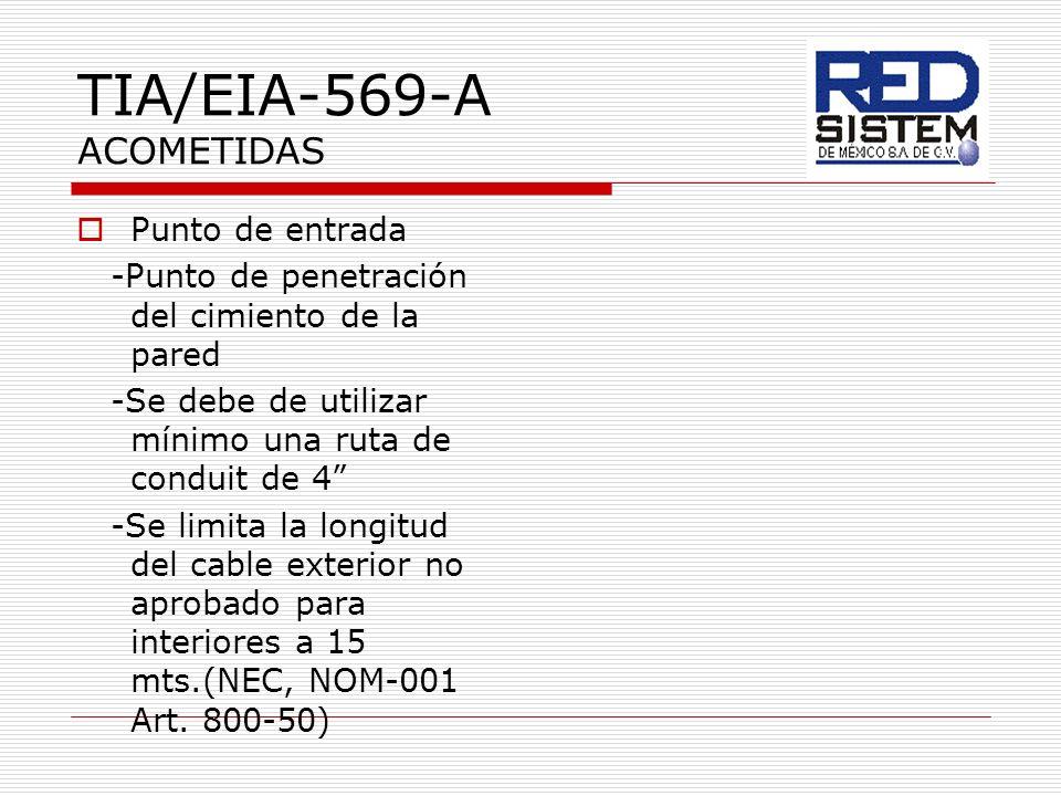 TIA/EIA-569-A ACOMETIDAS Punto de entrada -Punto de penetración del cimiento de la pared -Se debe de utilizar mínimo una ruta de conduit de 4 -Se limi