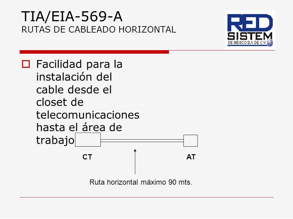TIA/EIA-569-A RUTAS DE CABLEADO HORIZONTAL Facilidad para la instalación del cable desde el closet de telecomunicaciones hasta el área de trabajo CTAT
