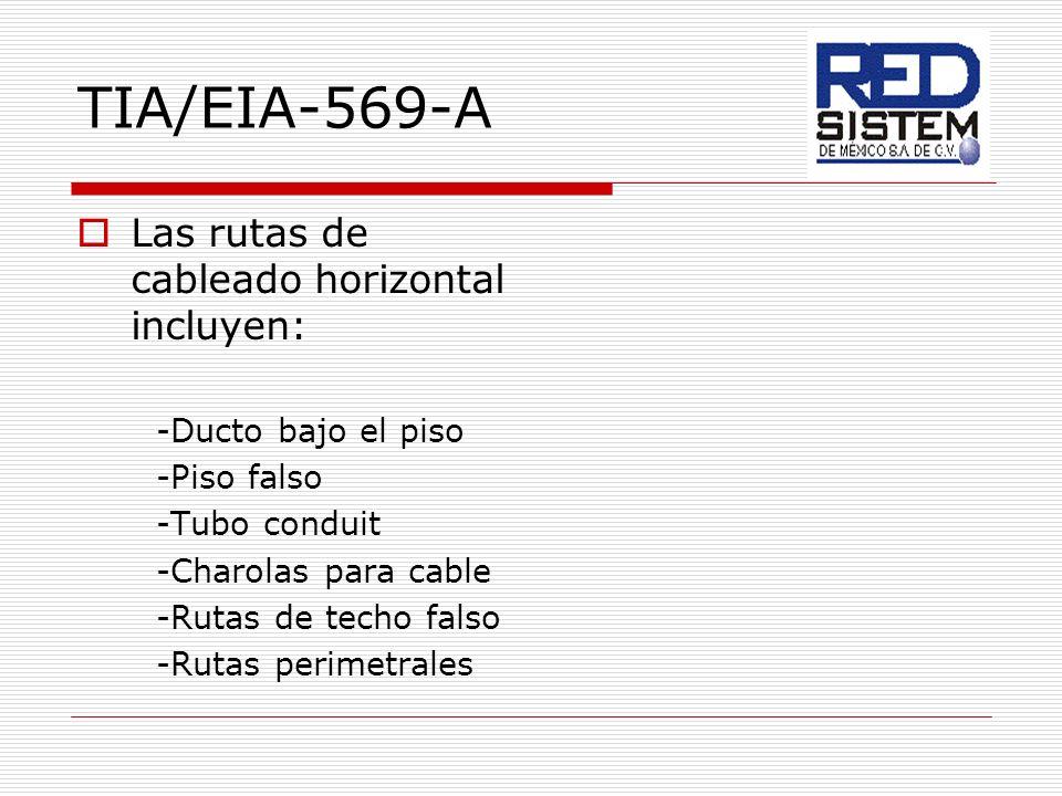 TIA/EIA-569-A Las rutas de cableado horizontal incluyen: -Ducto bajo el piso -Piso falso -Tubo conduit -Charolas para cable -Rutas de techo falso -Rut
