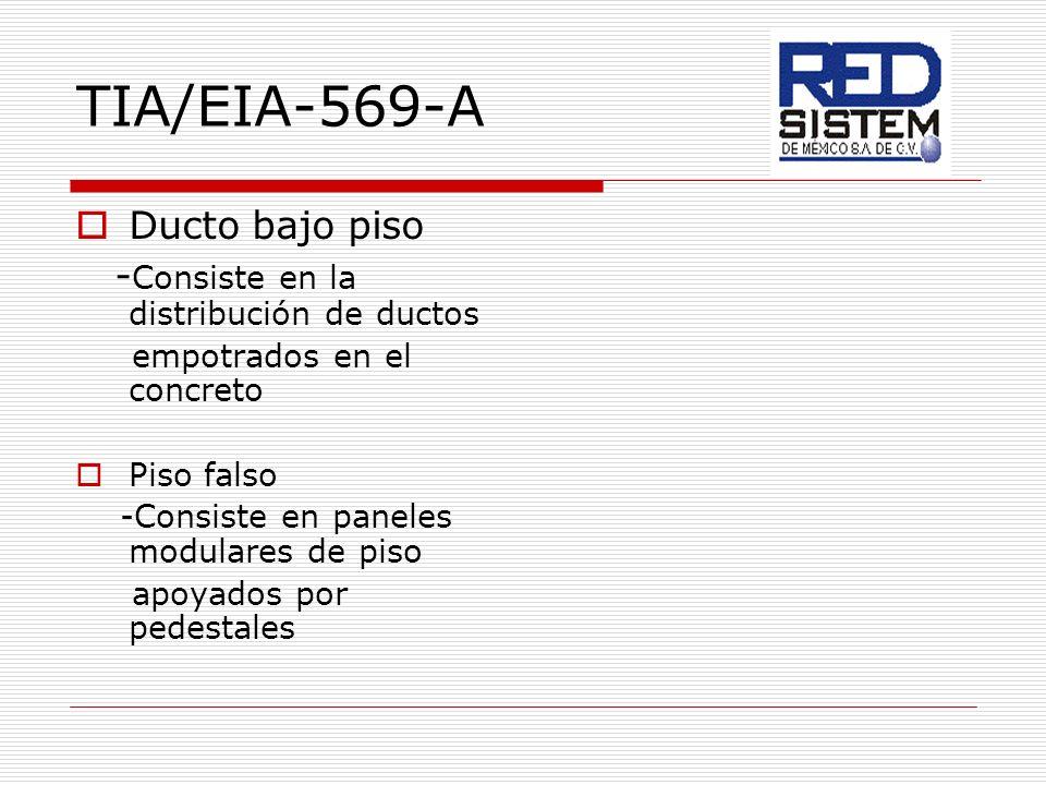 TIA/EIA-569-A Ducto bajo piso - Consiste en la distribución de ductos empotrados en el concreto Piso falso -Consiste en paneles modulares de piso apoy