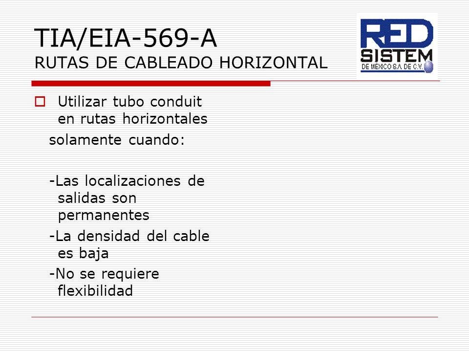 TIA/EIA-569-A RUTAS DE CABLEADO HORIZONTAL Utilizar tubo conduit en rutas horizontales solamente cuando: -Las localizaciones de salidas son permanente