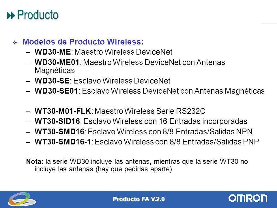 Producto FA V.2.0 9 Producto Producto Modelos de Producto Wireless: –WD30-ME: Maestro Wireless DeviceNet –WD30-ME01: Maestro Wireless DeviceNet con Antenas Magnéticas –WD30-SE: Esclavo Wireless DeviceNet –WD30-SE01: Esclavo Wireless DeviceNet con Antenas Magnéticas –WT30-M01-FLK: Maestro Wireless Serie RS232C –WT30-SID16: Esclavo Wireless con 16 Entradas incorporadas –WT30-SMD16: Esclavo Wireless con 8/8 Entradas/Salidas NPN –WT30-SMD16-1: Esclavo Wireless con 8/8 Entradas/Salidas PNP Nota: la serie WD30 incluye las antenas, mientras que la serie WT30 no incluye las antenas (hay que pedirlas aparte)