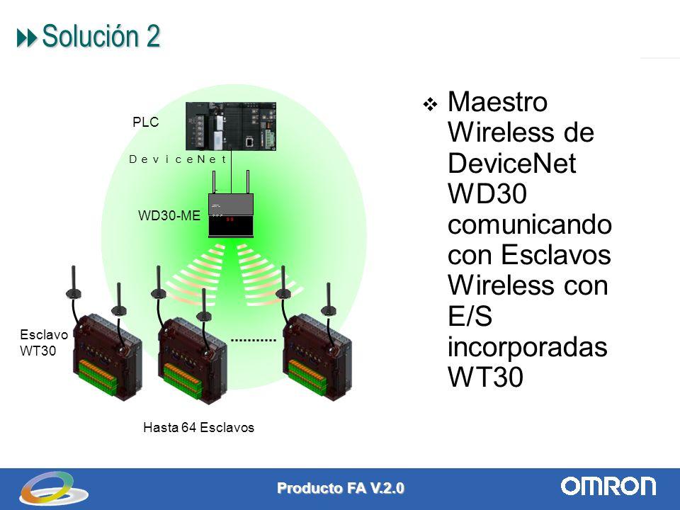 Producto FA V.2.0 4 Solución 2 Solución 2 Maestro Wireless de DeviceNet WD30 comunicando con Esclavos Wireless con E/S incorporadas WT30 WD30-ME PLC Hasta 64 Esclavos Esclavo WT30