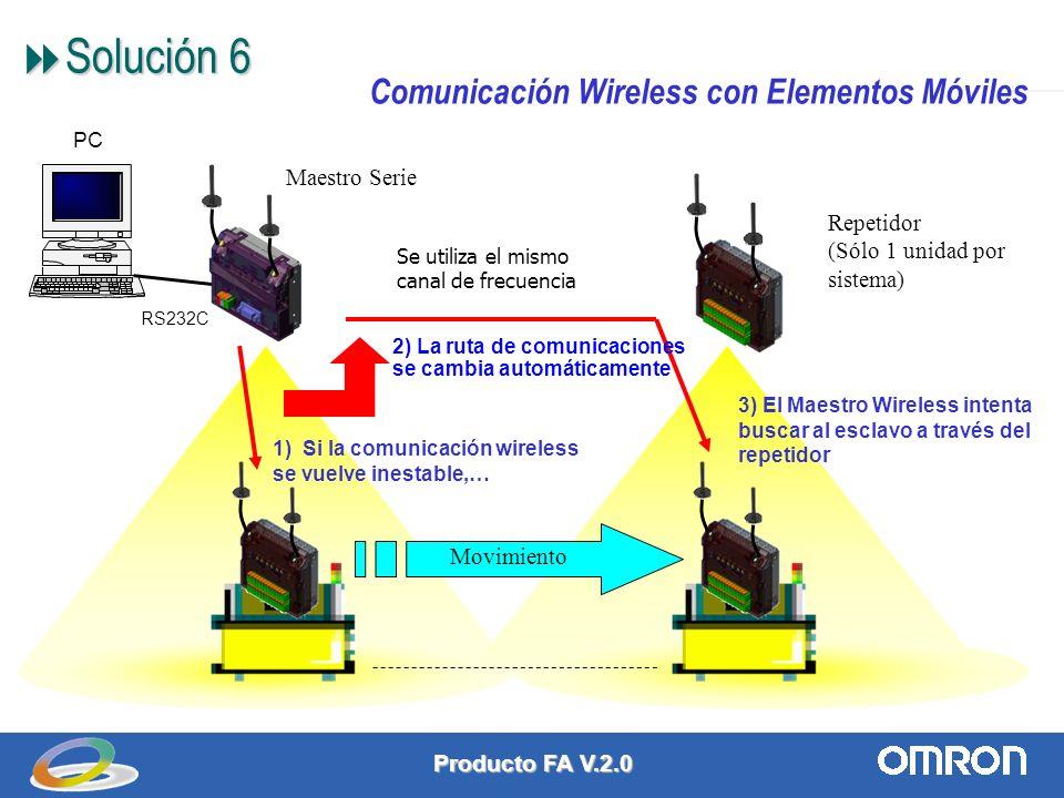 Producto FA V.2.0 8 Solución 6 Solución 6 RS232C PC Repetidor (Sólo 1 unidad por sistema) Maestro Serie Movimiento 2) La ruta de comunicaciones se cambia automáticamente 1) Si la comunicación wireless se vuelve inestable,… 3) El Maestro Wireless intenta buscar al esclavo a través del repetidor Se utiliza el mismo canal de frecuencia Comunicación Wireless con Elementos Móviles