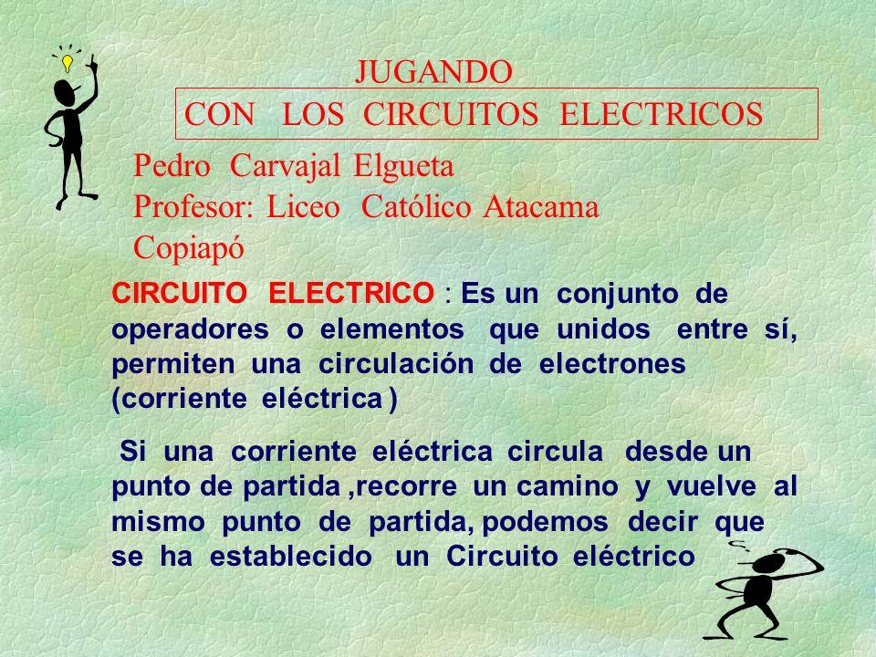 JUGANDO CIRCUITO ELECTRICO : Es un conjunto de operadores o elementos que unidos entre sí, permiten una circulación de electrones (corriente eléctrica
